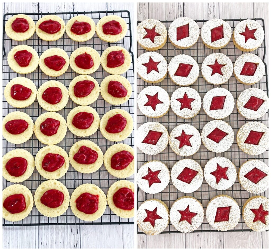 A super easy cookie recipe that will make your taste buds dance!Crunchy at first, before they're assembled, but soften once they absorb the jam filling. Either way, they are so delicious and bursting with raspberry flavor! You simply won't be able to resist going for more! That is if the kids leave any... They look beautiful, delicate and festive. Perfect for the winter holiday season with a snow-sprinkled design.