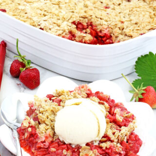 This Easy Strawberry Rhubarb Crisp Recipe is much easier and healthier than a pie. The crisp is loaded with homegrown strawberries and rhubarb. It topped with lightly sweetened with brown sugar oats. It's hart to resist not to try this Strawberry Rhubarb Crisp with homegrown fruit, which makes this recipe super tasty and special.