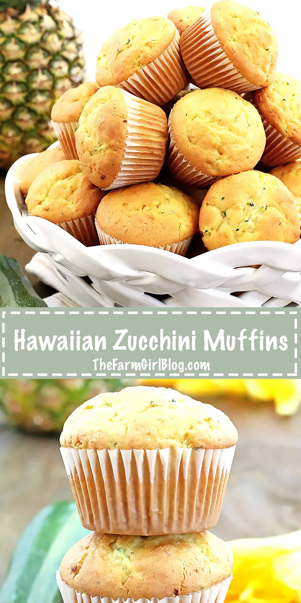 The freshly crushed pineapple in these Hawaiian Zucchini Muffins Recipe makes them super soft, and moist. They are loaded with zucchini and don't even taste like it; a good way to include vegetables, like this one, into kids' diet. Especially the picky ones. Enjoy!